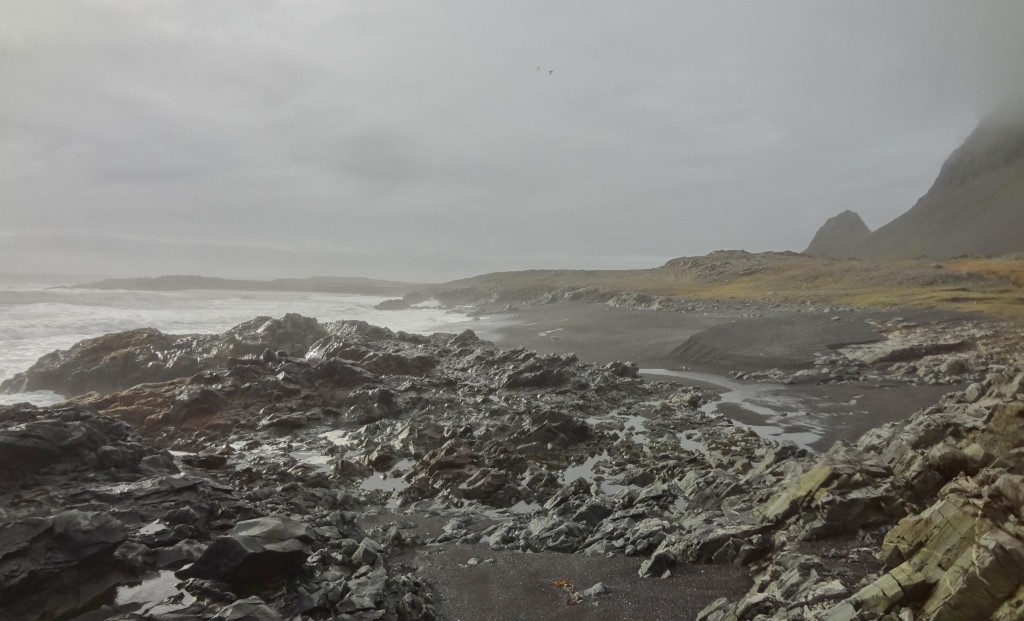 Rocky coastline and black sand beaches in Iceland