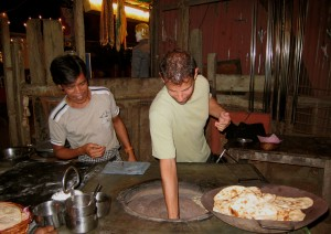 Making Chapati bread at the restaurant