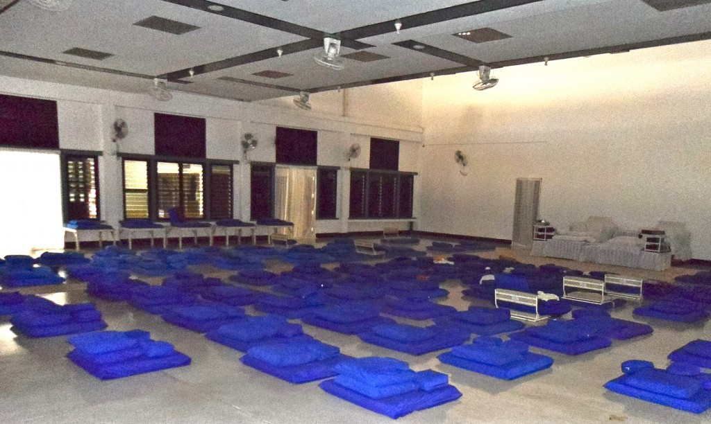 Inside the Vipassana meditation hall