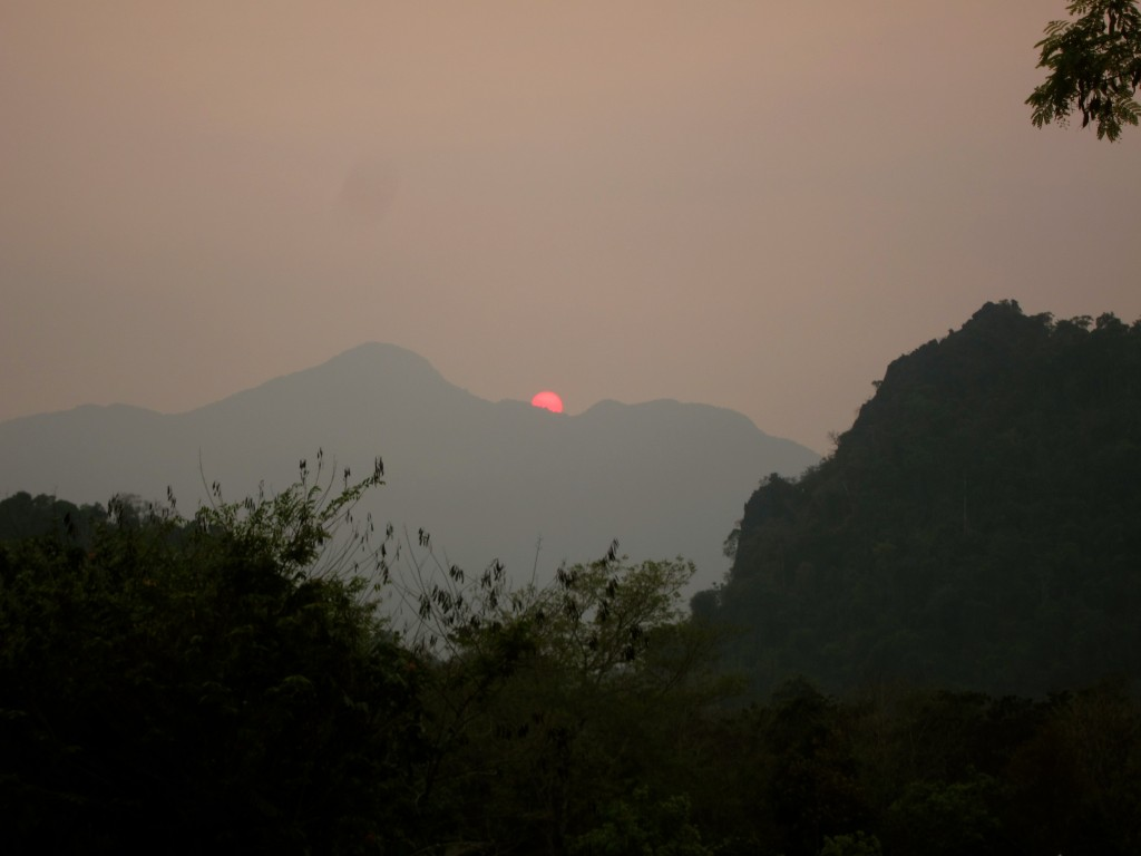 Sunset over Nathong village, Laos
