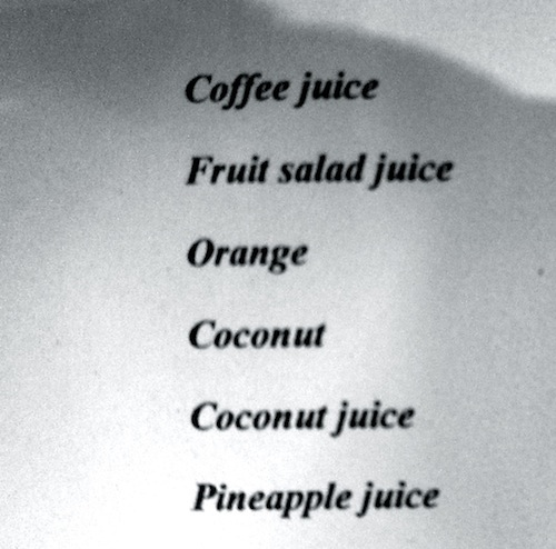 Engrish Translation 3 - Coffee Juice and Fruit Salad Juice
