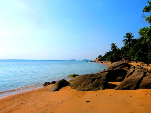 A view from the sandy island beaches in Thailand's Gulf